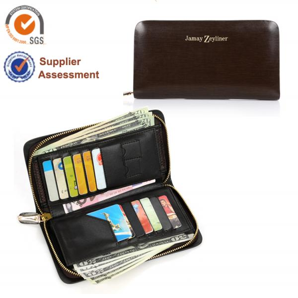 【FREE SHIPPING】JAMAY ZEYLINER Top quality zipper wallet for men cow leather wallet