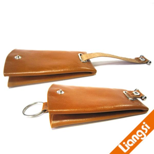 【FREE SHIPPING】LIAMS fashion genuine leather brown key pouch