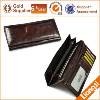 【FREE SHIPPING】LIAMS oil leather long zipper wallet from China