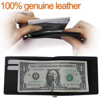 100% genuine leather slim wallet wholesale, fashion pocket money purse wallet,Liams money clip free shipping